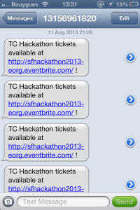 SMS alert for TC Hackathon tickets!
