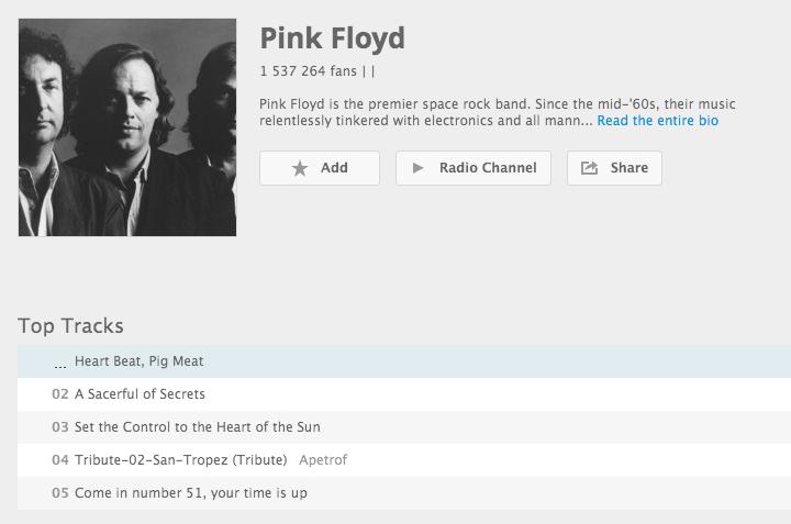 Pink Floyd top-tracks on Deezer