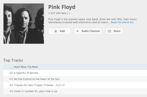 Pink Floyd top-tracks on Deezer