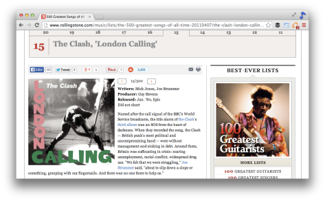 London Calling - #15: One of the 5 songs from the Clash in the top 500