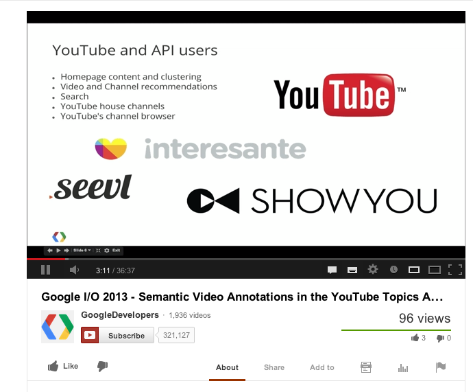 Google I/O talk on Semantic Annotations of YouTube videos, featuring our own seevl
