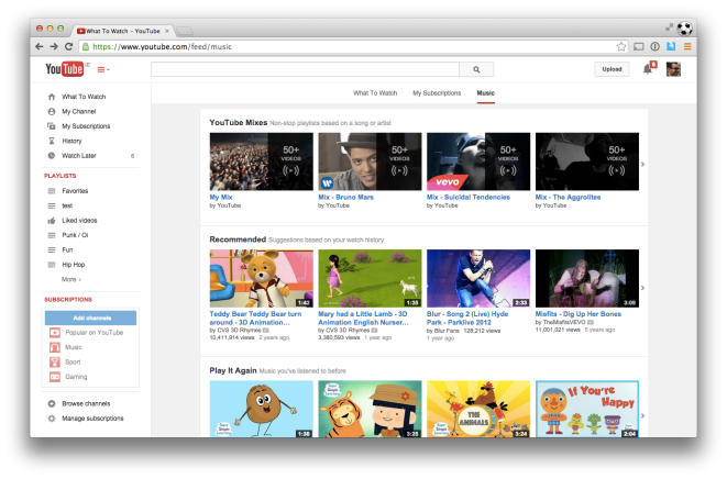 My personalised YouTube music page...