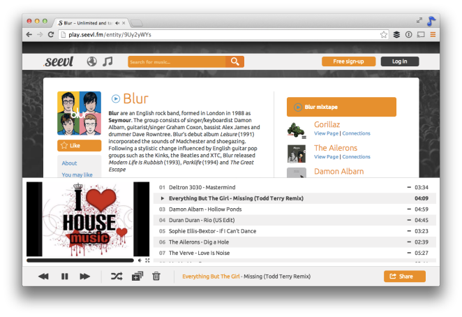 Blur's page on play.seevl.fm