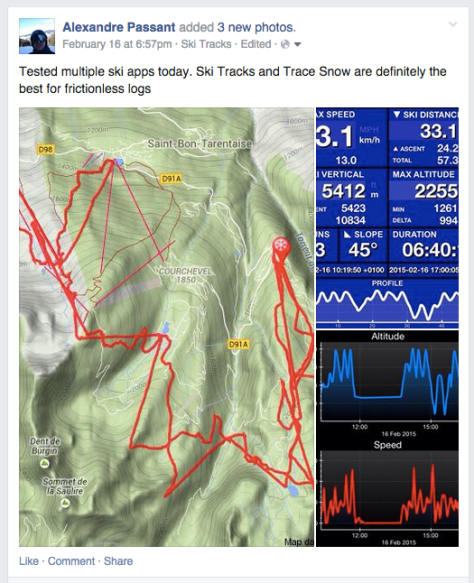 Sharing Ski Tracks logs on Facebook